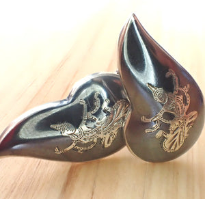 Vintage sterling silver Siam Niello earrings