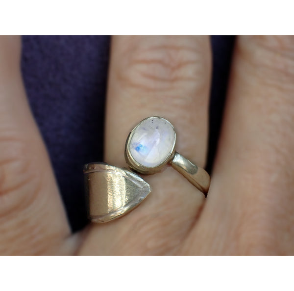 Sterling silver and moonstone ring on hand model