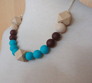 Milk Monkey beads, blue and brown