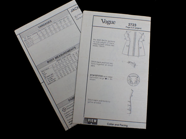 Vintage Vogue sewing pattern instructions