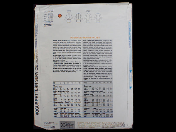 Vintage Donna Karan sewing pattern back of packet