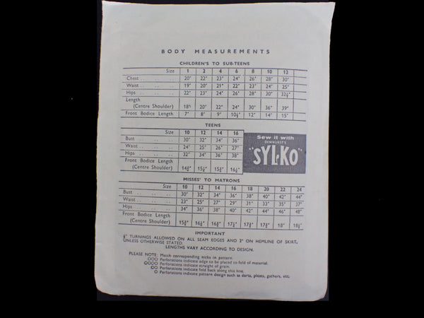Measurement chart on vintage sewing pattern packet
