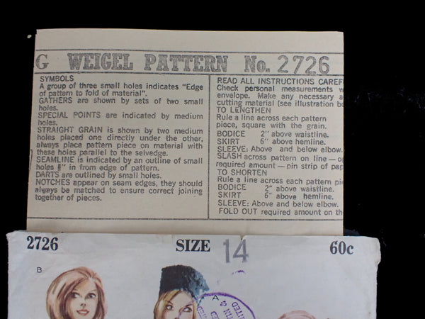 Weigel's vintage sewing pattern instructions