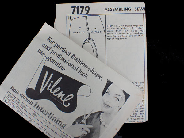 Vintage sewing pattern instructions