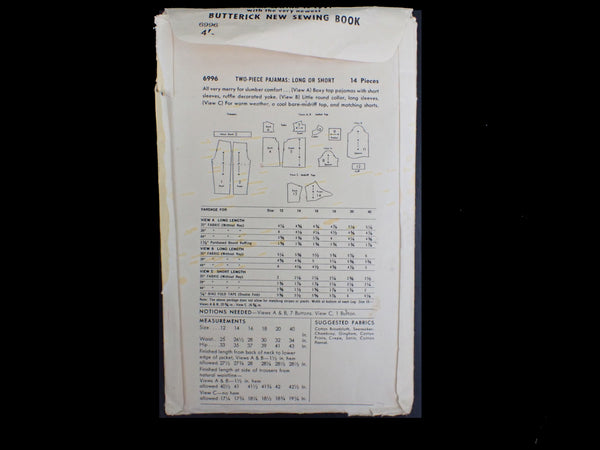 Vintage Butterick sewing pattern packet, back view