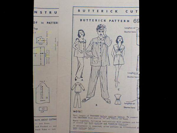 Vintage Butterick sewing pattern instructions
