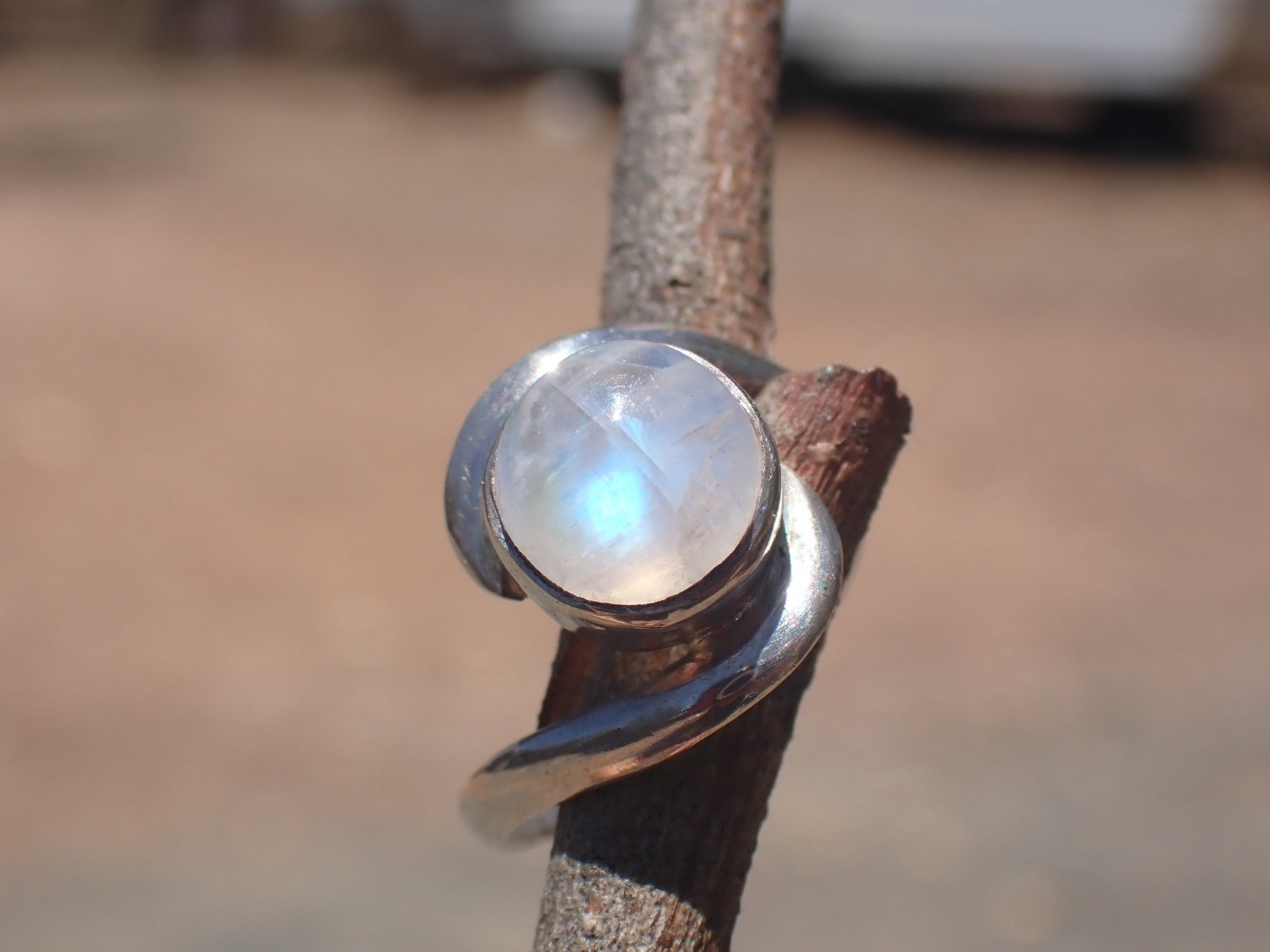 Moonstone and Sterling Silver Ring, Handmade by Sulo Jewellery, NWOT