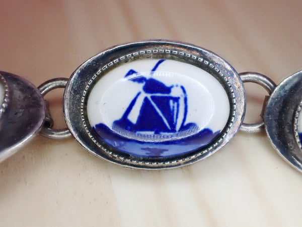 Vintage Dutch Windmill Ceramic Bracelet