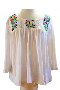 Sportgirl S linen/cotton white embroidered top