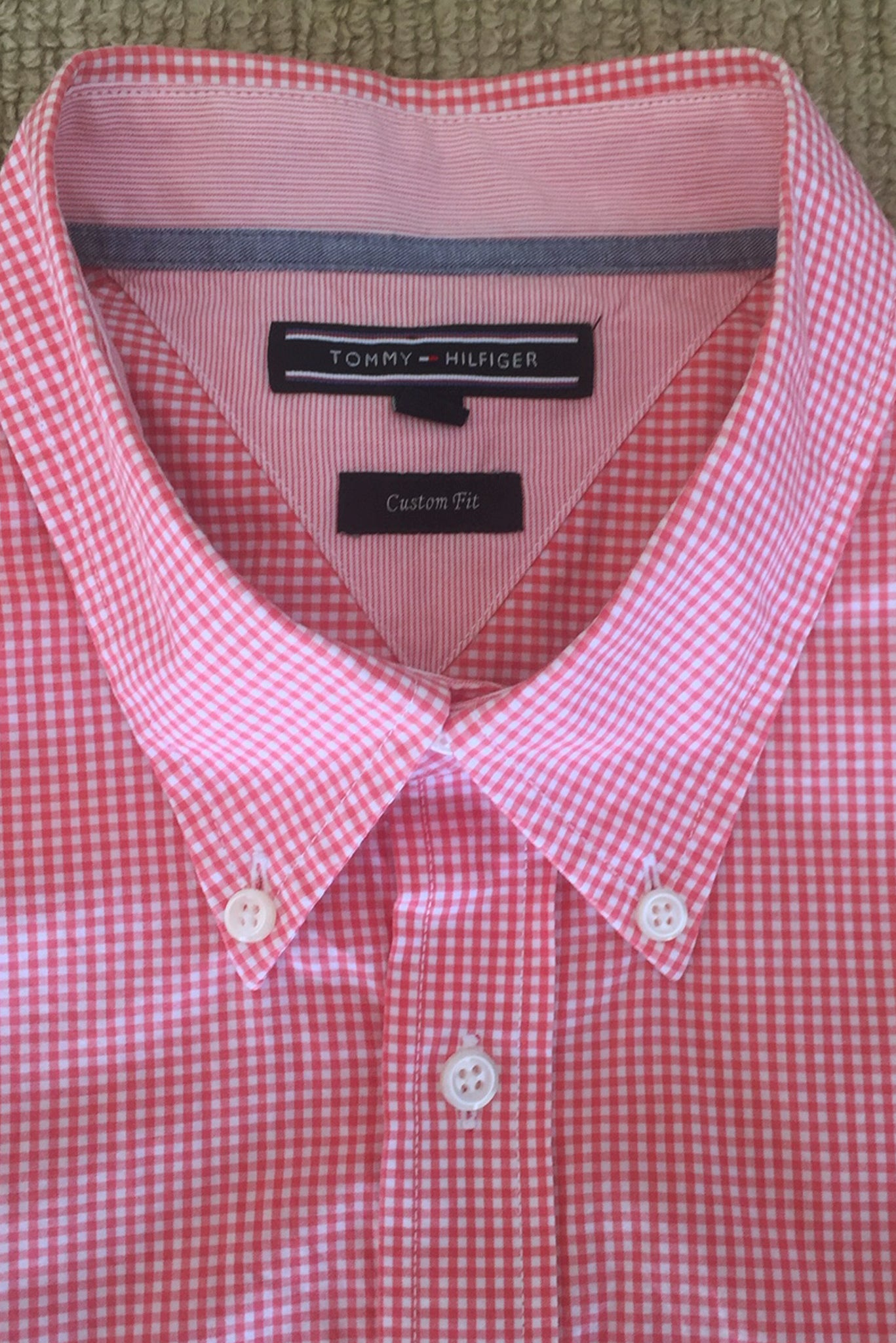 Tommy Hilfiger red check shirt label