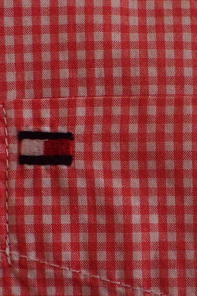 Tommy Hilfiger red check shirt logo