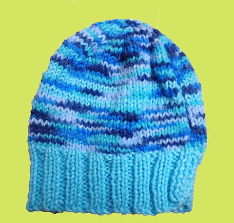 Blue hand-knitted baby beanie