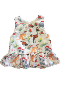Aussie Christmas dress for baby, front