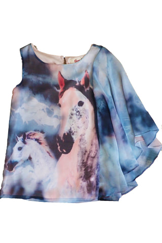 Gum girl's horse tank top size 8 with sheer winged sleeve front