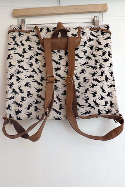 Horse-themed canvas backpack back