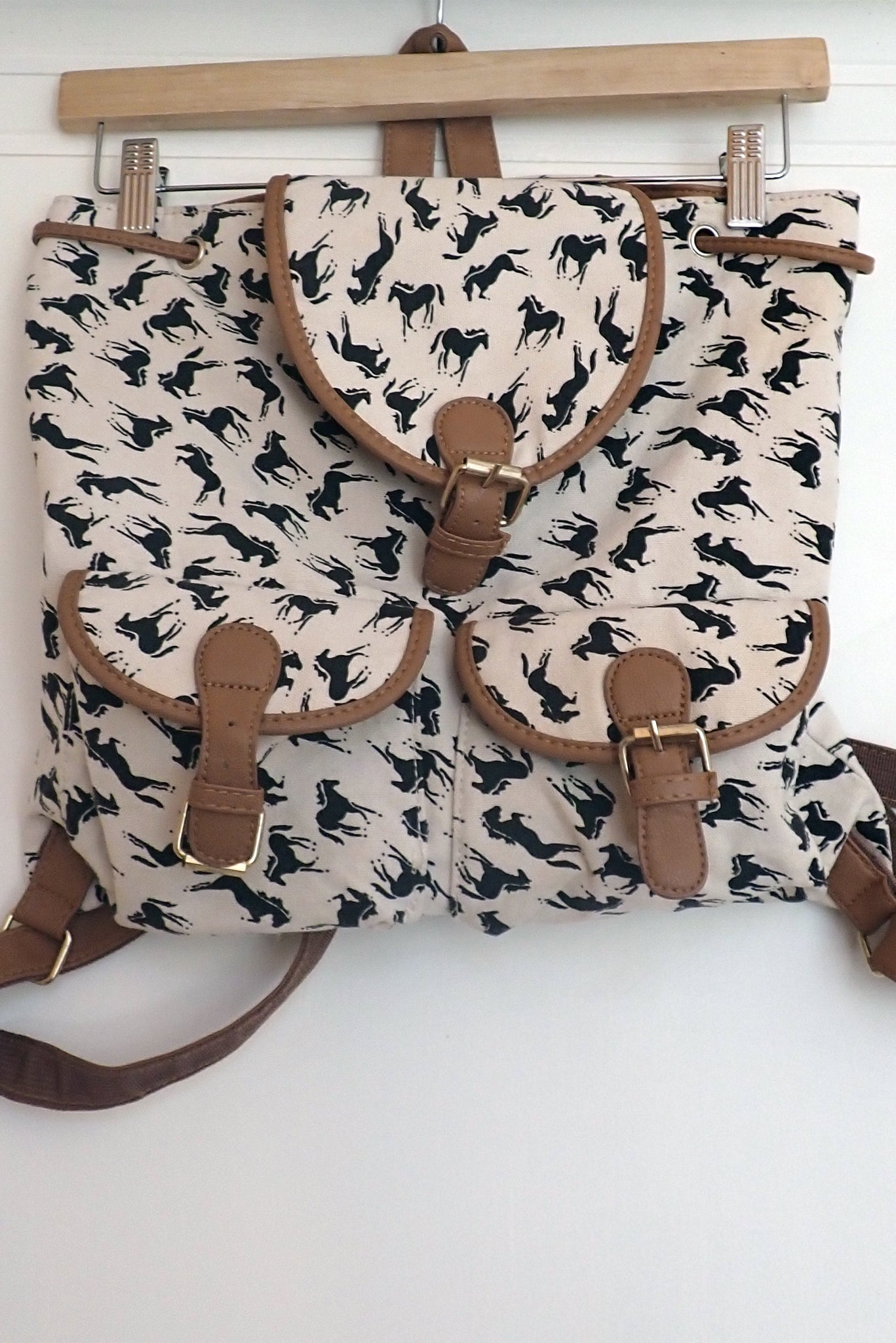 Horse-themed canvas backpack front