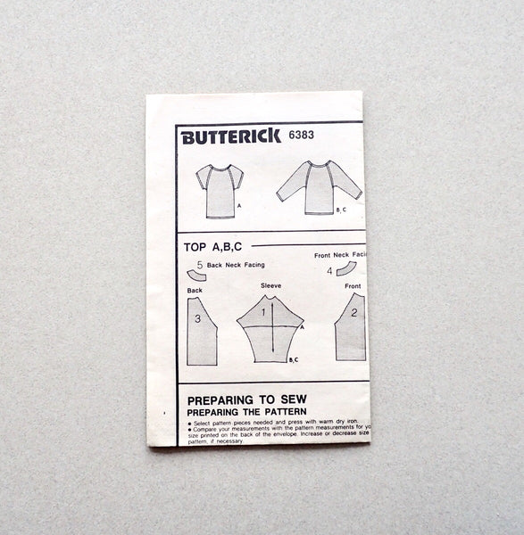 Butterick vintage sewing pattern 6383 instructions
