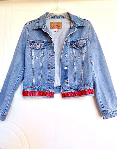 Zara denim jacket embroidered preloved Size L