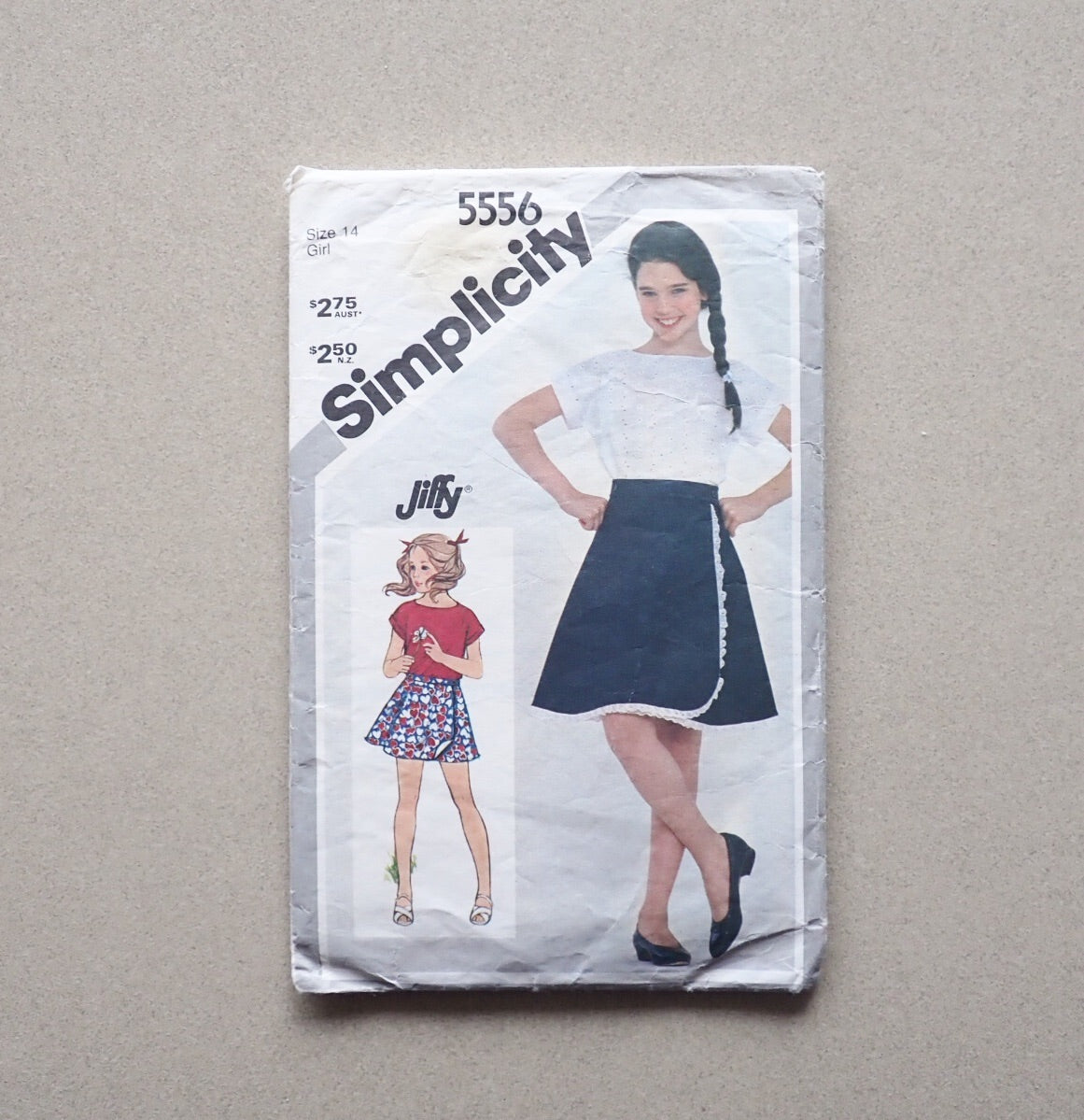 Vintage Simplicity sewing pattern for girl's wrap skirt front of packet