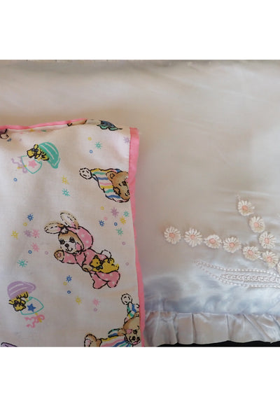 vintage doll's satin pillowcase showing pillow