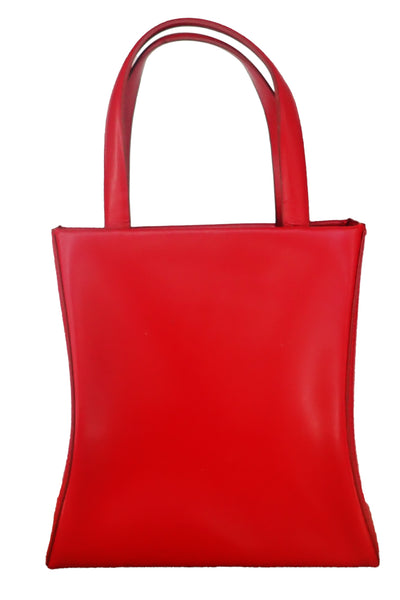 Small red leather handbag by Joanne Mercer