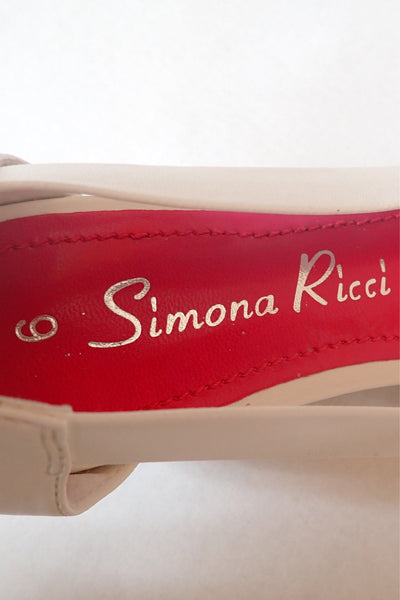 Simona Ricci pink & white 'Lexon' size 6 sandals  label