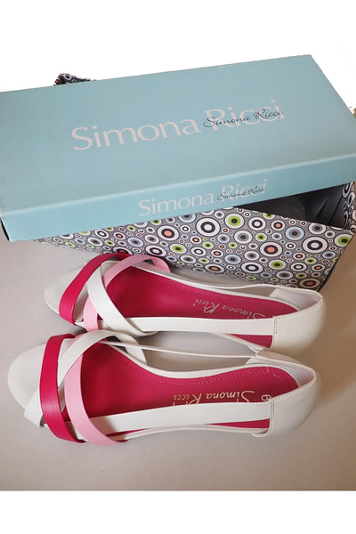 Simona Ricci pink & white 'Lexon' sandals size 6 with box