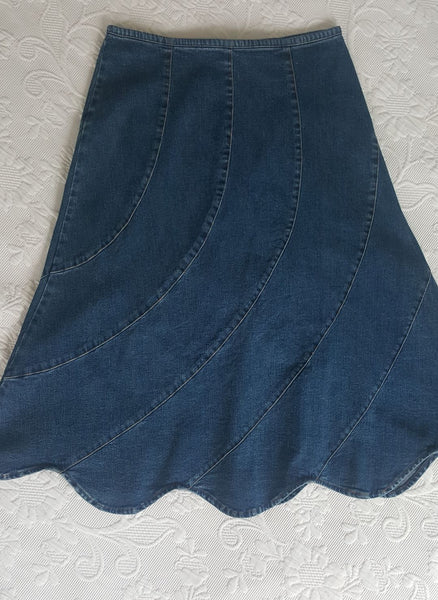 Vintage Katies denim skirt with scalloped hemline
