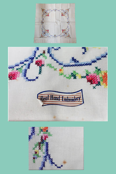 Antique table linen showing whole tablecloth and close-ups of embroidery
