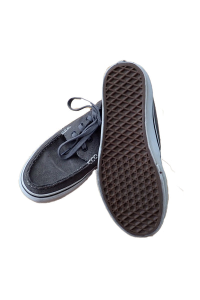 Grey unisex pre-owned Vans loafers showing sole