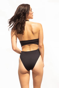 Black swimsuit with Brazilian cut bottom
