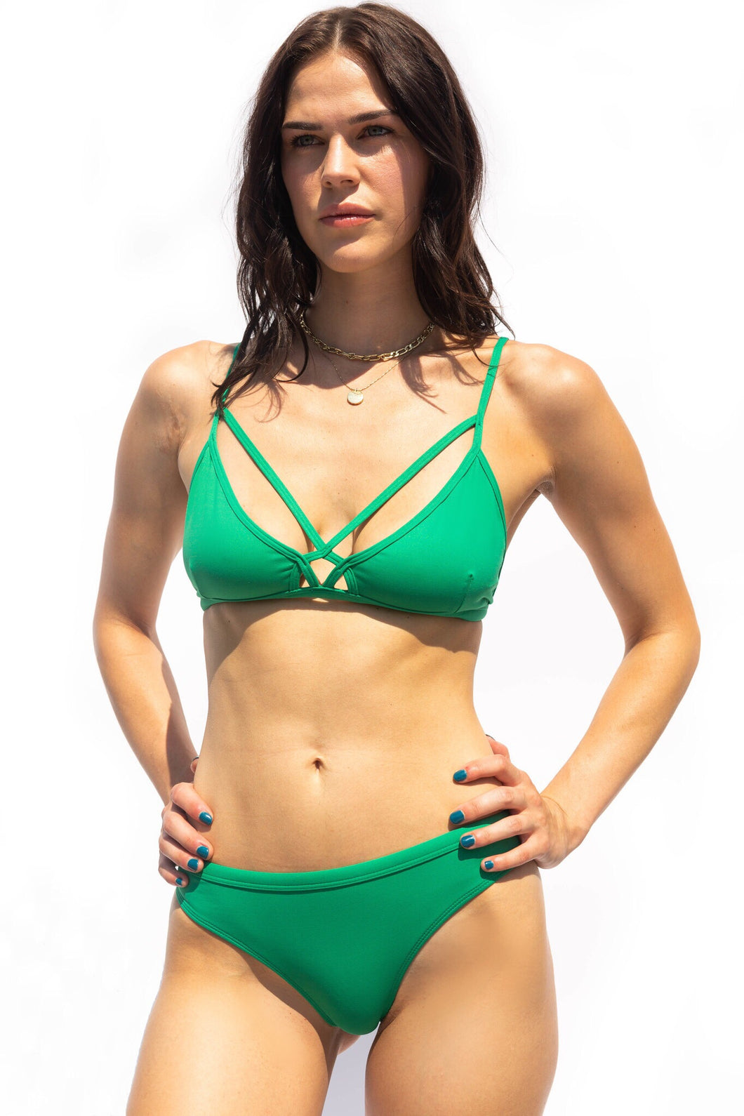 Green luxury fashion bikini. Stand out, trendy swimwear