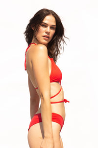 Sexy red bikini top, tie front, back or side, with matching v-shaped briefs. so flattering on your body what ever your shape or size.
