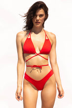 Load image into Gallery viewer, Sexy red bikini top, tie front, back or side, with matching v-shaped briefs. so flattering on your body what ever your shape or size.