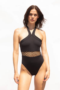 Cool black swimsuit. Halterneck trendy & fashionable one-piece swimsuit