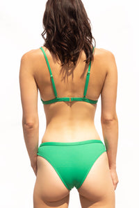 Green luxury fashion bikini. Stand out, trendy swimwear. Brazilian butt cut.