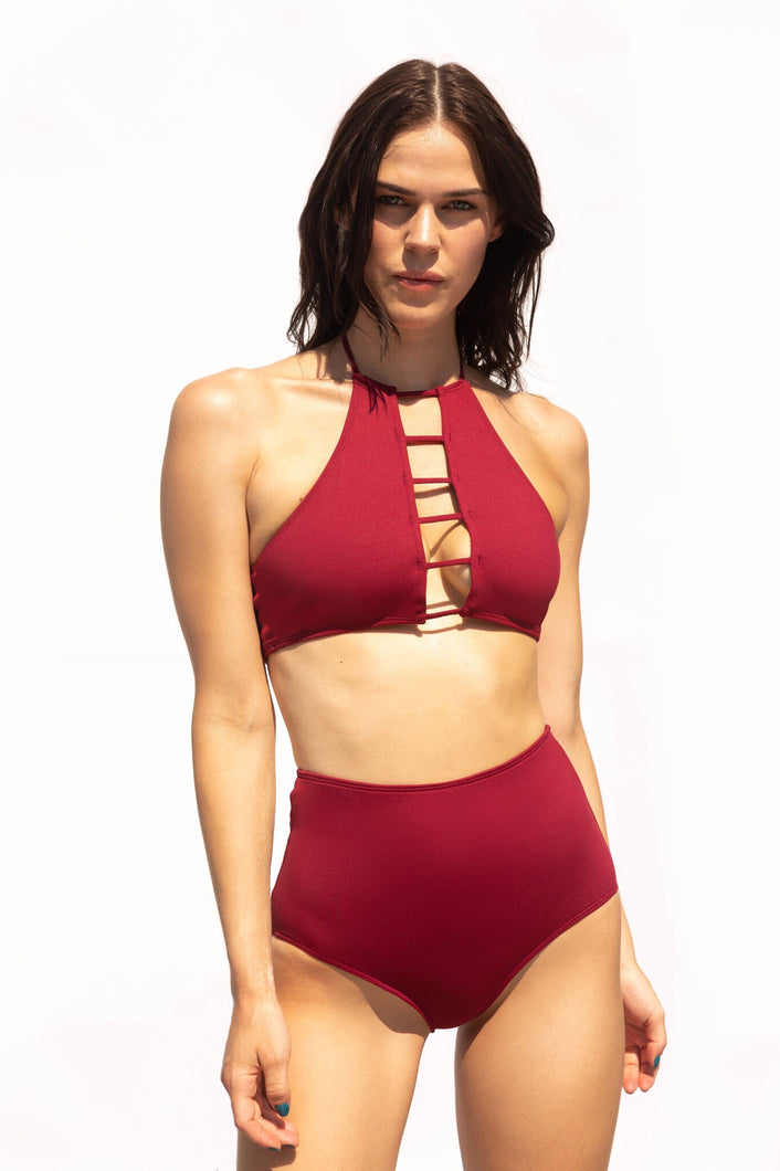 Halterneck, high-neck, burgundy bikini top is supportive, flattering for all shapes and is extremely comfortable. Matched with gorgeous high waist bikini briefs