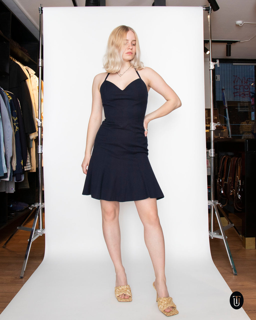 A 1990s Vintage Chanel Navy Cotton Dress S