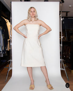 A Vintage Chanel 1998 White Strapless Cotton Dress L