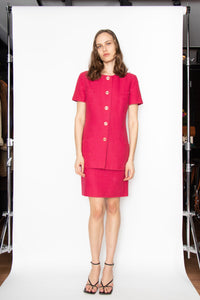 A 1980s Vintage Givenchy Raspberry Pink Wool Skirt Suit S