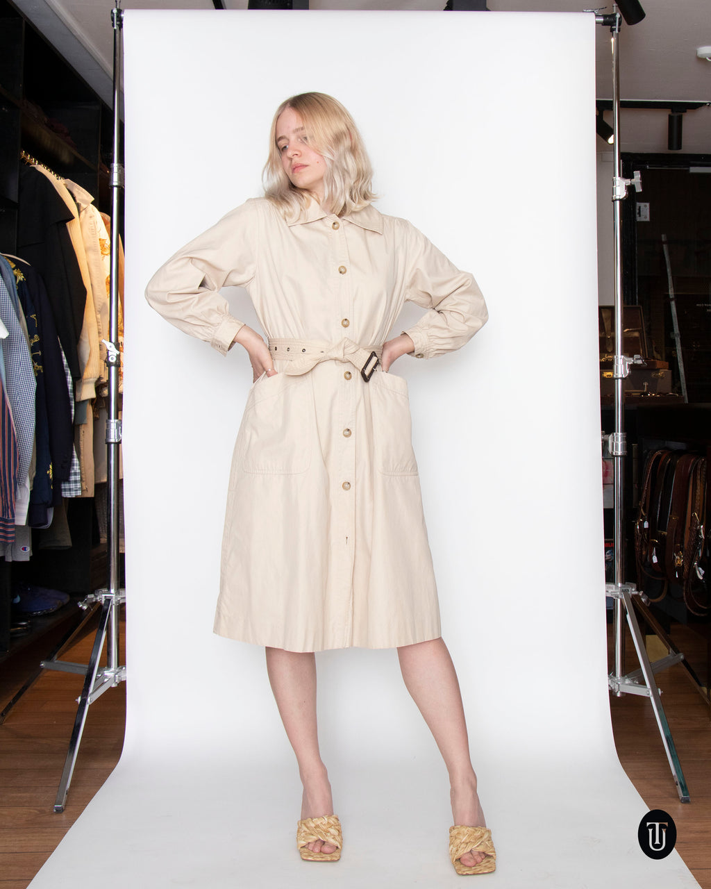 A 1970s Vintage Yves Saint Laurent Beige Cotton Trenchcoat S