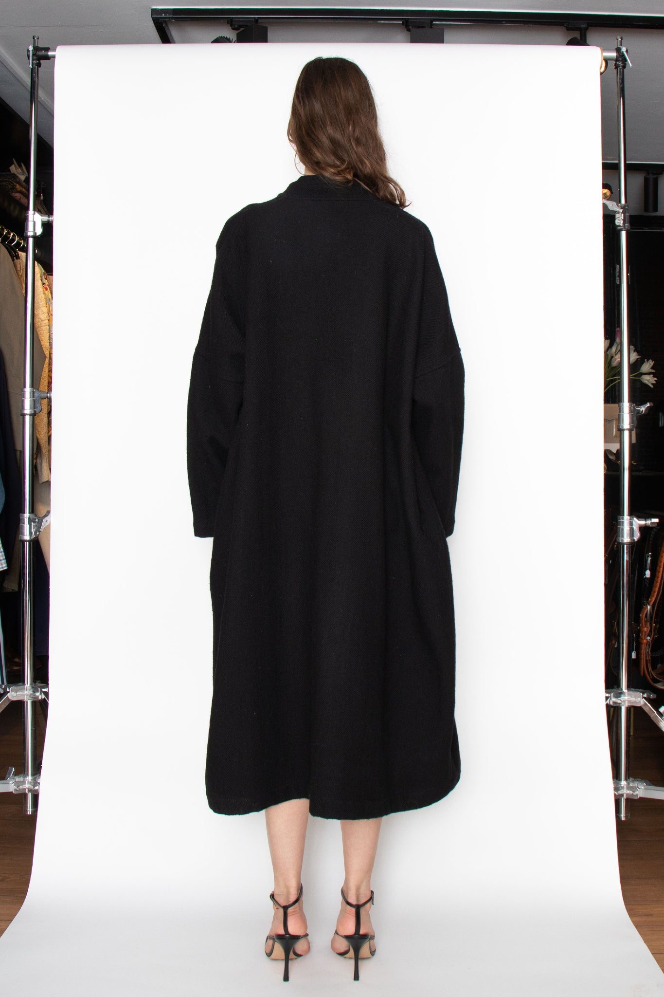 A 1990s Vintage Comme des Garcons Black Wool Dress OS