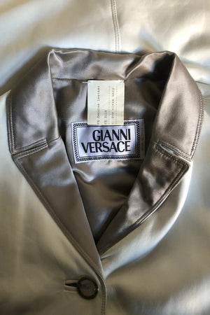 A Vintage White Leather Gianni Versace Leather Coat S-M