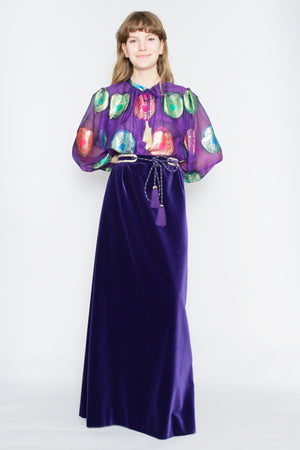 70s Couture Lurex & Velvet Two-Piece Ensemble M-L