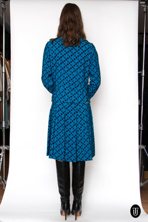 A 60s Vintage Chanel Haute Couture Blue Silk Skirt Suit S/M