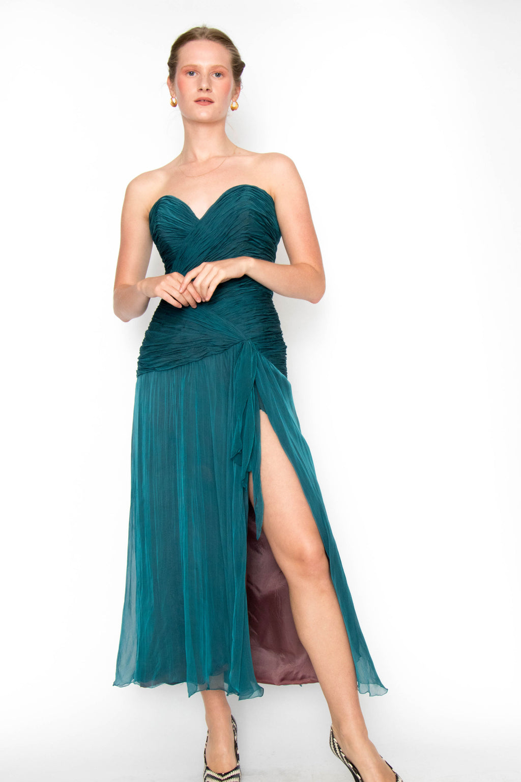 A 1980s Vintage Azzaro Blue Silk Chiffon Evening Dress S