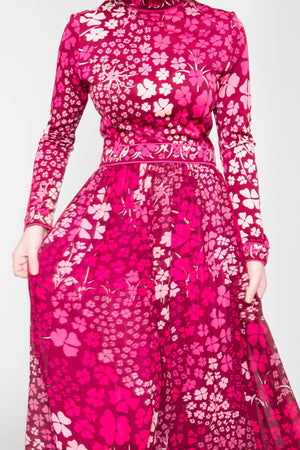70s Pink Floral Averado Bessi Silk Dress XS