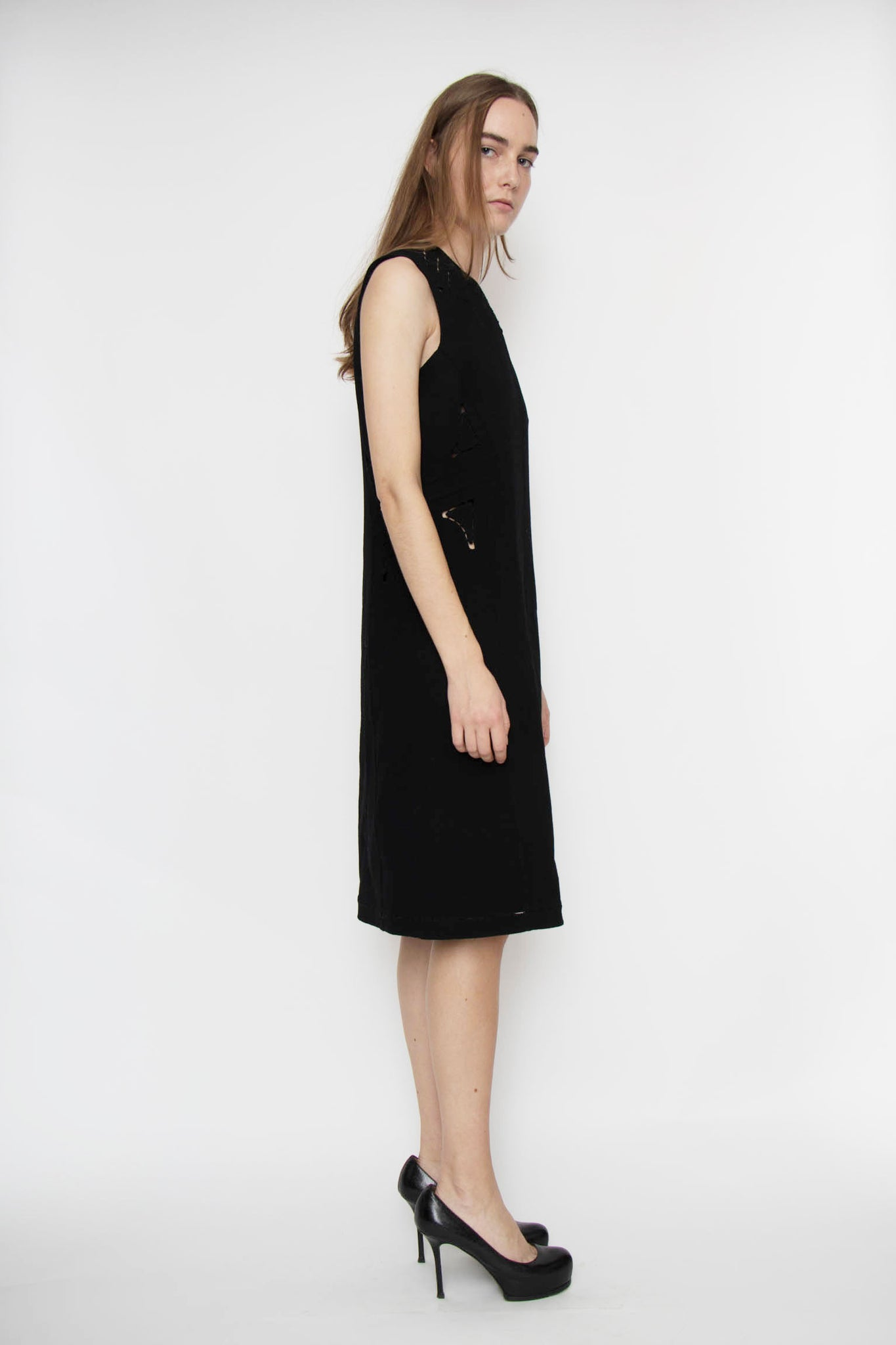 An Early 2000 Chado Ralph Rucci Black Wool Cut and Stitch Dress XS