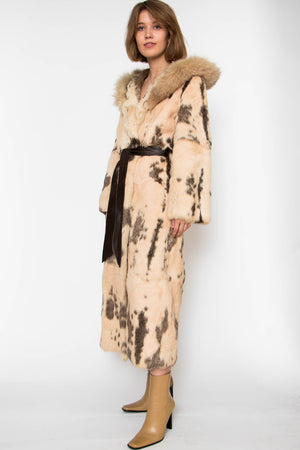 A 70s Hooded Rabbit Fur Coat With Fox Trimming S