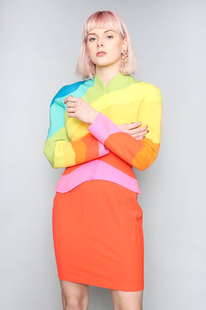 Iconic S/S 1990 Thierry Mugler Rainbow Wool Skirt Suit XS